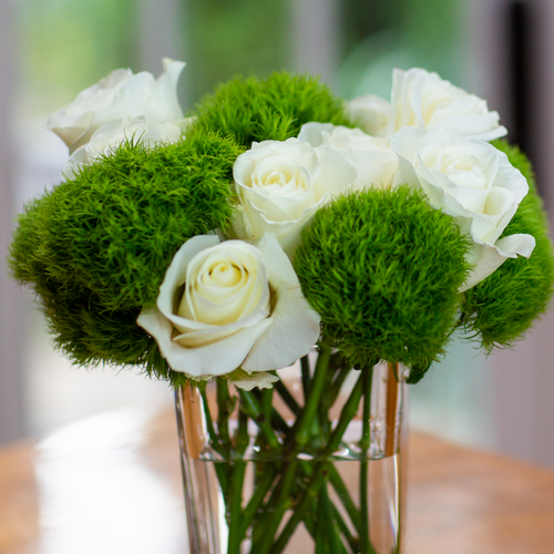 Green + White Sweet Pea Arrangement