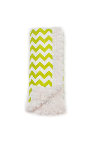 Lime Chevron Luxury Blanket