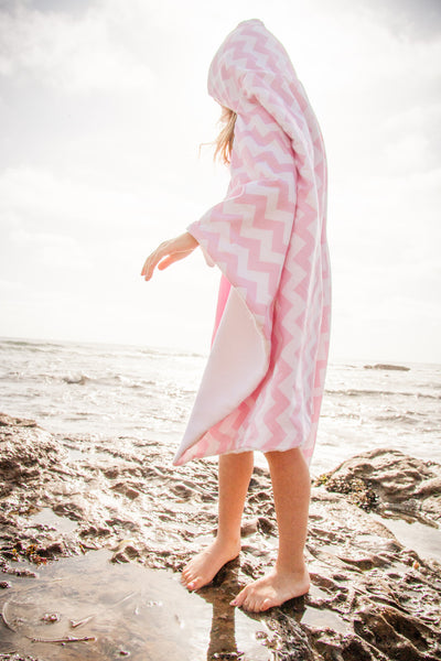 Pink Chevron Snap Hooded Towel