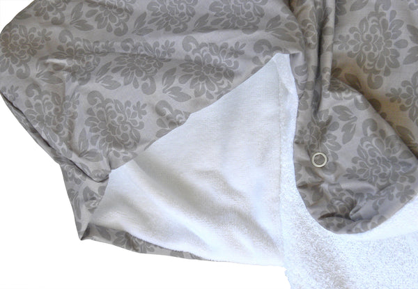 Gray Damask Snap Hooded Towel