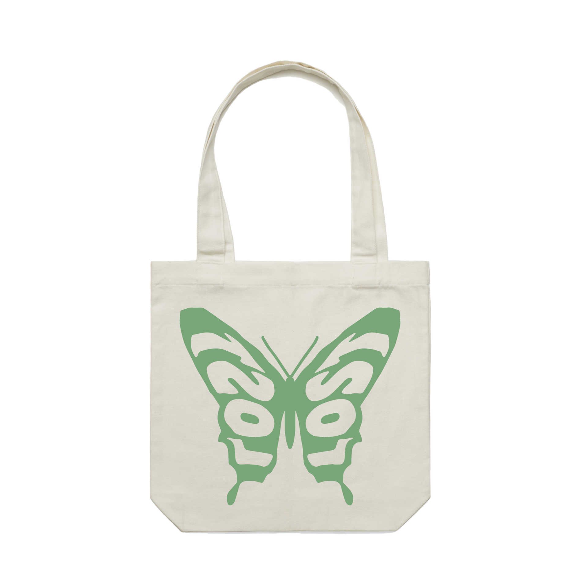 Butterfly: Reimagined Tote - Off White/Green
