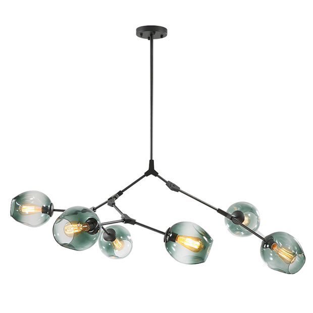 Replica Lindsey Adelman Branching 6-Bubble Pendant - Black, Smoke Glass