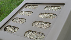 "Replacement Grates - Small, Medium & Large Openings Accessory Savvy Feeder Small: 2.25"" x 5"" size openings for super fine grass hay such as Costal Bermuda Teff hay brome chopped forage and very fine alfalfa and fine hay that is conditioned. Tan"