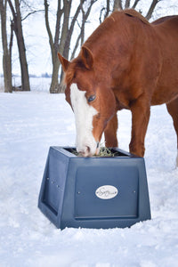 Savvy Feeder in Dark Gray: Slow feeder for horse hay to help horses eat naturally
