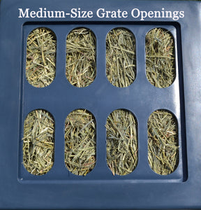 "Replacement Grates - Small, Medium & Large Openings Accessory Savvy Feeder Medium: Our original grate size with 2.75"" x 6"" size openings for most cool-season grass hays such as Timothy and Orchard and some finer grass alfalfa mix hay - not for very thick or coarse hay. Dark Gray"