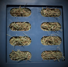 "Load image into Gallery viewer, Savvy Feeder in Dark Gray Savvy Feeder Savvy Feeder Small: 2.25"" x 5"" size openings for super fine grass hay such as Costal Bermuda Teff hay brome chopped forage and very fine alfalfa and fine hay that is conditioned."
