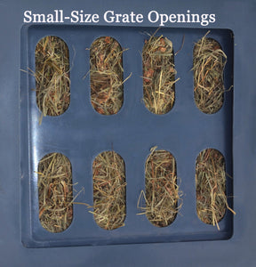 "Replacement Grates - Small, Medium & Large Openings Accessory Savvy Feeder Small: 2.25"" x 5"" size openings for super fine grass hay such as Costal Bermuda Teff hay brome chopped forage and very fine alfalfa and fine hay that is conditioned. Dark Gray"