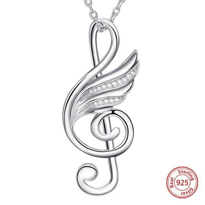 Necklace- 925 sterling silver musical note wing chain pendant necklace with Cubic Zirconia