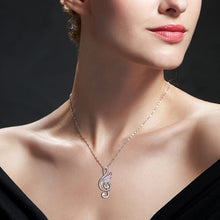Load image into Gallery viewer, Necklace- 925 sterling silver musical note wing chain pendant necklace with Cubic Zirconia