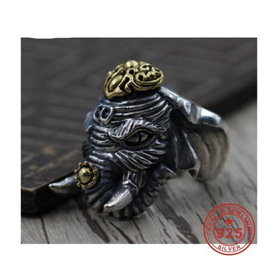 Ring- 925 Sterling Silver Jewelry Elephant Rings Adjust Vintage Mens Signet Ring