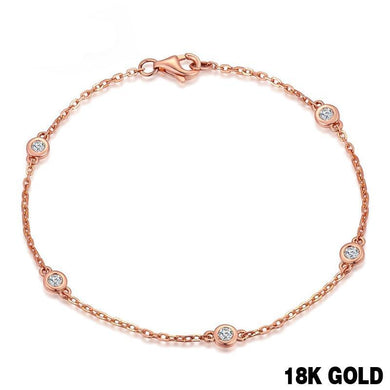 Bracelet- 18k Pure Rose Gold Natural Bracelet Women