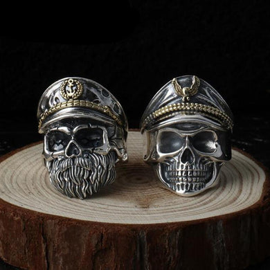 Ring- 925 Sterling Silver jewelry men women Skull Pirate Captain Ring