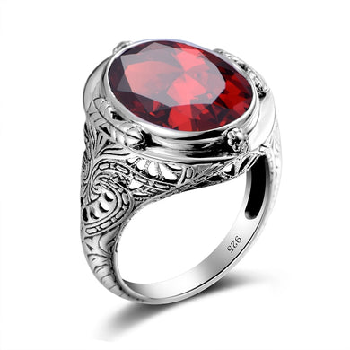 Ring- 925 Sterling Silver Ring Vintage Carved Flower Created Ruby CZ Aquamarine