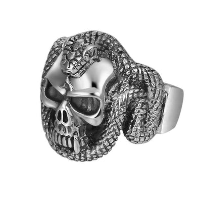 Ring- 925 Sterling Silver jewelry for men Creative Skull Snake Opening Ring