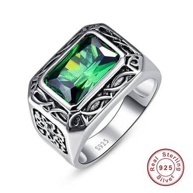 Ring- Russian Lab Created Emerald Ring For Men Solid 925 Sterling Sliver