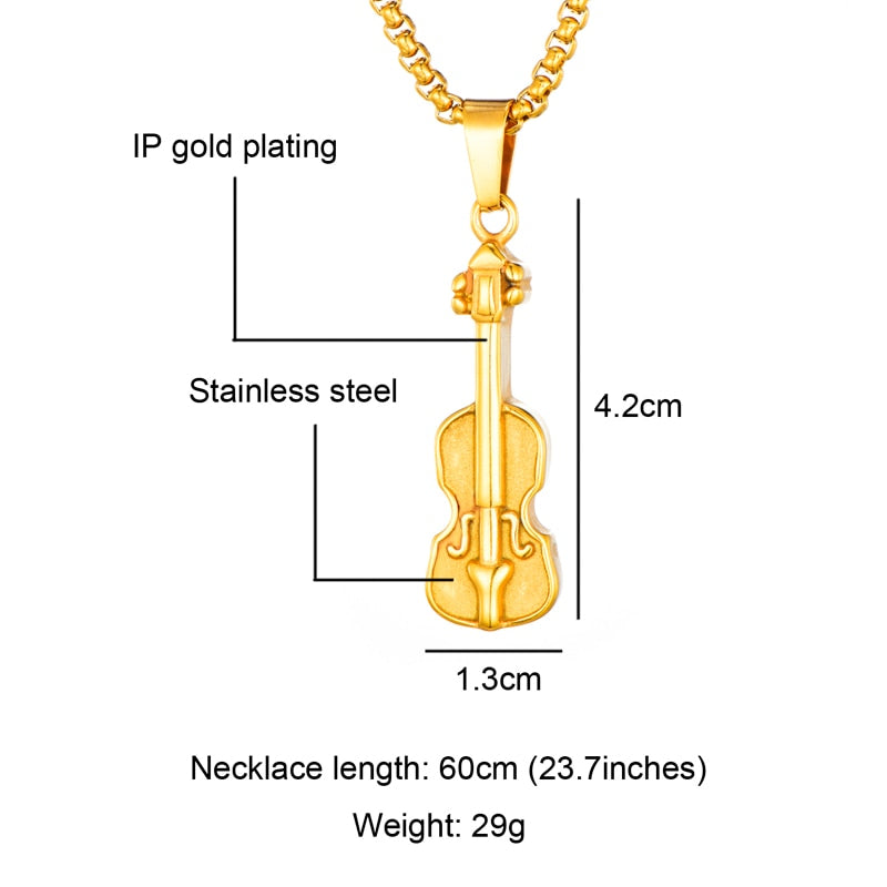 Necklace- Stainless Steel Violin Necklaces Pendants Gold Color Musical Instrument For Men Jewelry
