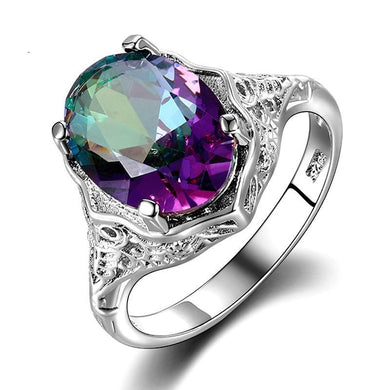 Ring- High Quality Rainbow Fire Mystic Topaz Ring Solid 925 Sterling Silver