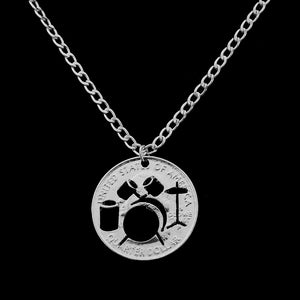 Necklace- Hollow Drum kit Necklace Rock And Roll Music Jazz Band Pendant