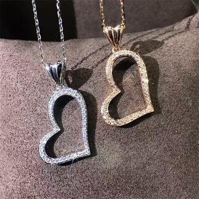 Necklace- Heart Halo 18k Gold Natural Diamond Pendant Necklace