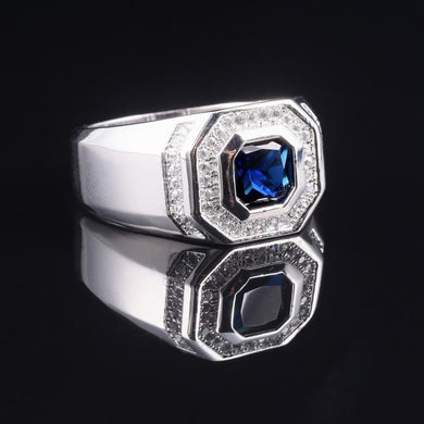 Ring- Men's Luxury 925 streling Silver Blue Sapphire Rings