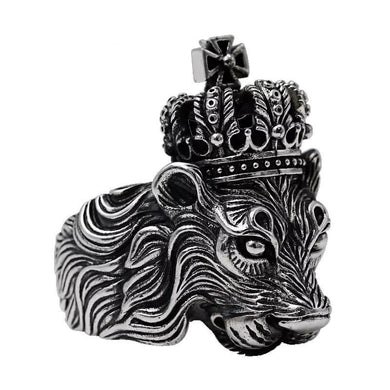 Ring- Men's Ring 925 Sterling Silver Crown Lion