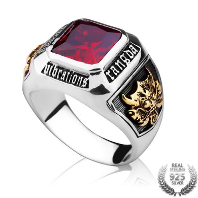 Ring- Vintage Men's Ruby Ring Solid 925 Sterling Silver Ring