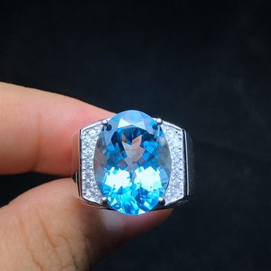 Ring- Natural topaz men's ring, 925 silver, exquisite craftsmanship