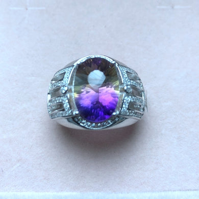 Ring- Simple atmospheric style, natural ametrine men's ring, two-color fire, 925 silver