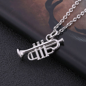 Necklace- Silver Color Musical Instrument Pendant Necklace