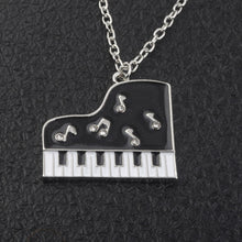 Load image into Gallery viewer, Necklace- Rhinestone black and white piano pendant long chain crystal music jewelry
