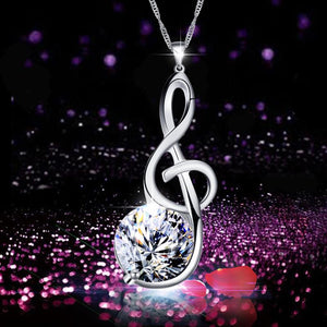 Necklace- Women Necklace CZ Crystal Musical Symbol Pendant Necklace
