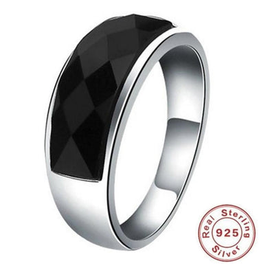 Ring- Men's S925 Sterling Silver Lovers Ring Black Agate