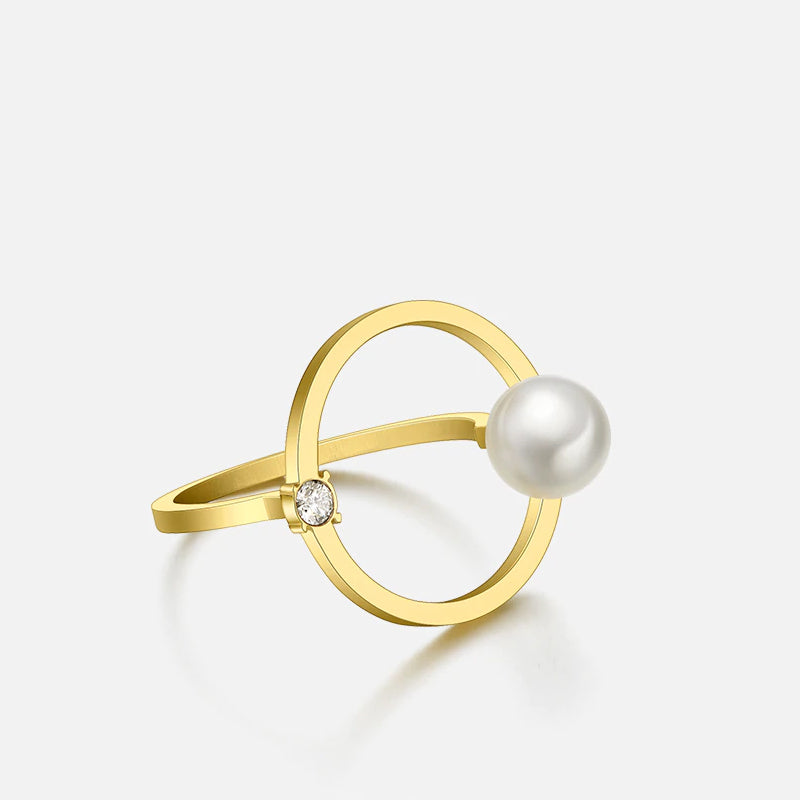 HALO CRYSTAL PEARL RING