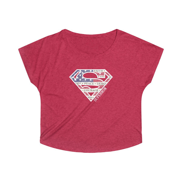 Supermom | Women's Tri-Blend Dolman T-Shirt | 7 Colors - Baby Pea Clothing Fashion for Babies & Kids of all ages