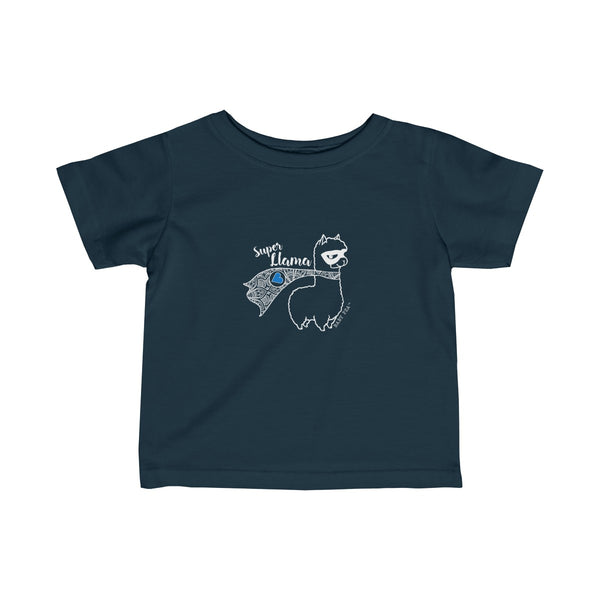 Super Llama with Blue Heart | Infant Fine Jersey Tee | 12 Colors - Baby Pea Clothing Fashion for Babies & Kids of all ages