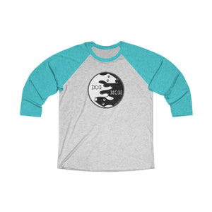 Dog Mom Yin Yang | Unisex Tri-Blend 3/4 Raglan T-Shirt | 16 Colors - Baby Pea Clothing Fashion for Babies & Kids of all ages