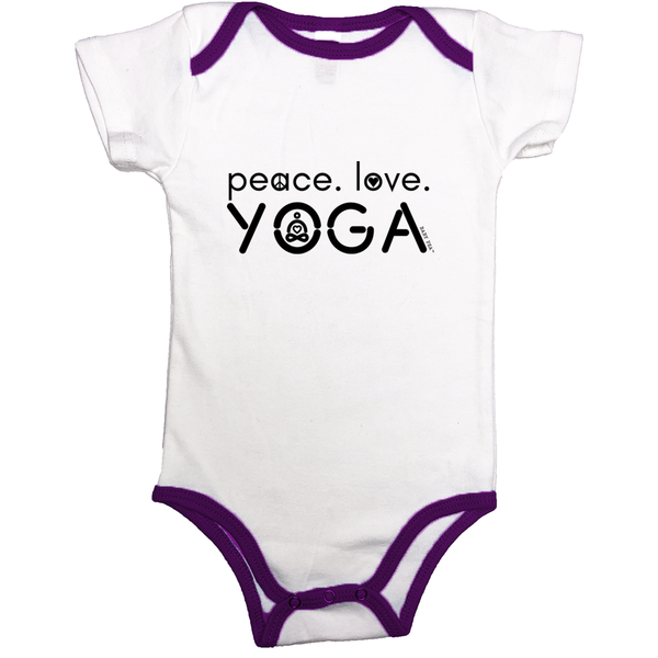Peace Love Yoga | 100% Organic Cotton Infant Contrast Binding Onesie | 9 Colors | Unisex - Baby Pea Clothing Fashion for Babies & Kids of all ages