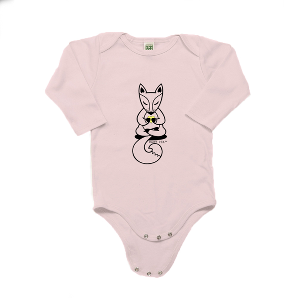 Boho Baby Yoga Fox | 100% Organic Cotton Long Sleeve Onesie | 6 Colors | Unisex - Baby Pea Clothing Fashion for Babies & Kids of all ages