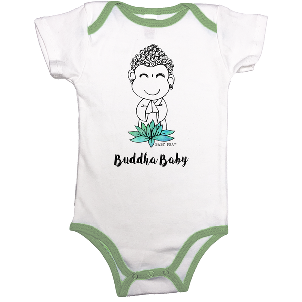 Buddha Baby | 100% Organic Cotton Contrast Binding Onesie | 9 Colors | Unisex - Baby Pea Clothing Fashion for Babies & Kids of all ages