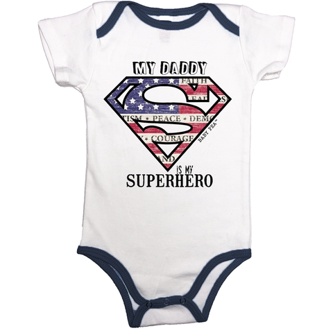 Superdad My Daddy My Superhero | Cotton Onesie Contrast Binding | 13 Colors | Unisex - Baby Pea Clothing Fashion for Babies & Kids of all ages