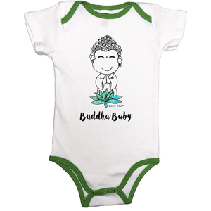 Buddha Baby | Cotton Onesie Contrast Binding | 13 Colors | Unisex - Baby Pea Clothing Fashion for Babies & Kids of all ages