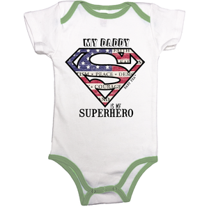 Superdad My Daddy My Superhero | 100% Organic Cotton Contrast Binding Onesie | 9 Colors | Unisex - Baby Pea Clothing Fashion for Babies & Kids of all ages