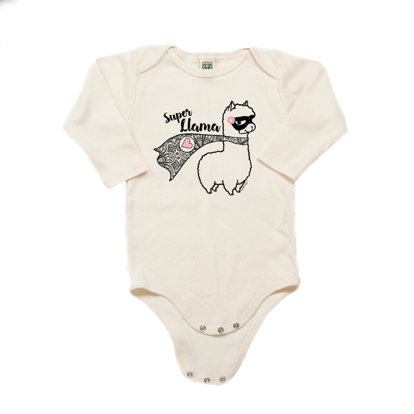 Super Llama with Pink Heart | 100% Organic Cotton Long Sleeve Onesie | 6 Colors | Unisex - Baby Pea Clothing Fashion for Babies & Kids of all ages