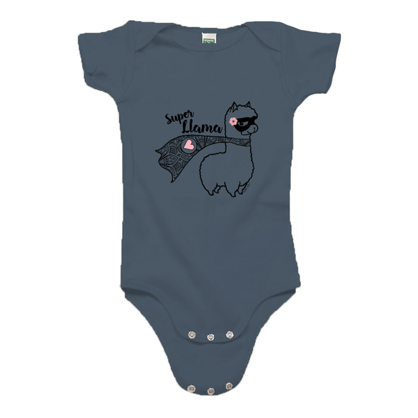 Super Llama with Pink Heart | 100% Organic Cotton Short Sleeve Onesie | 9 Colors | Unisex - Baby Pea Clothing Fashion for Babies & Kids of all ages