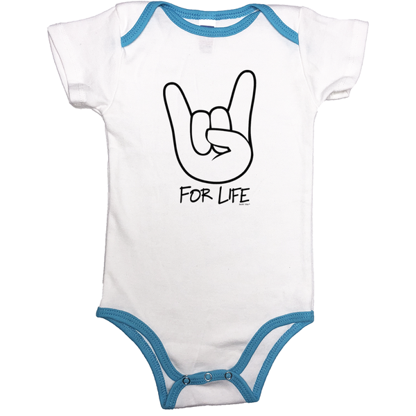Rocker for Life | Contrast Binding Onesie | 13 Colors | Unisex - Baby Pea Clothing Fashion for Babies & Kids of all ages