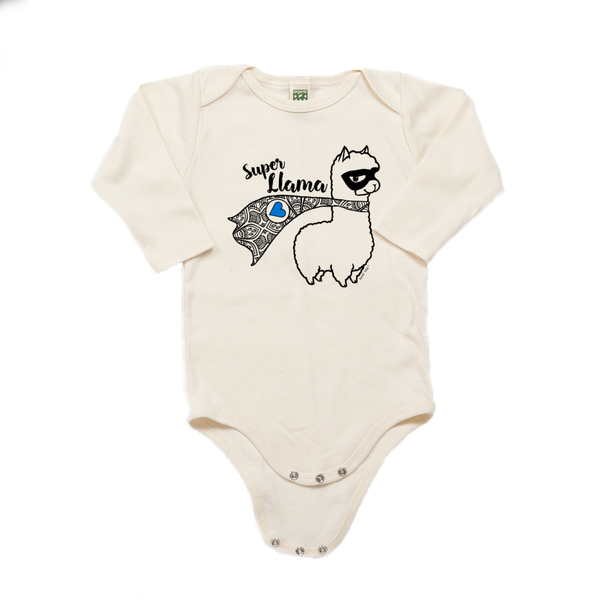 Super Llama with Blue Heart | 100% Organic Infant Long Sleeve Onesie | 6 Colors | Unisex - Baby Pea Clothing Fashion for Babies & Kids of all ages