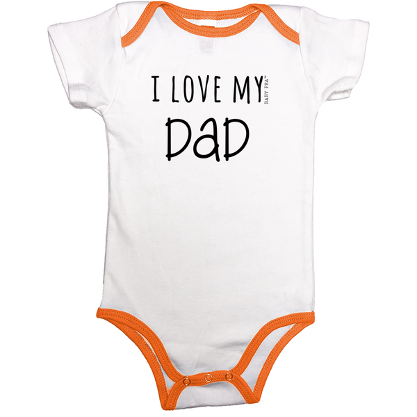I Love My Dad Contrast Binding Onesie | 13 Colors | Unisex - Baby Pea Clothing Fashion for Babies & Kids of all ages