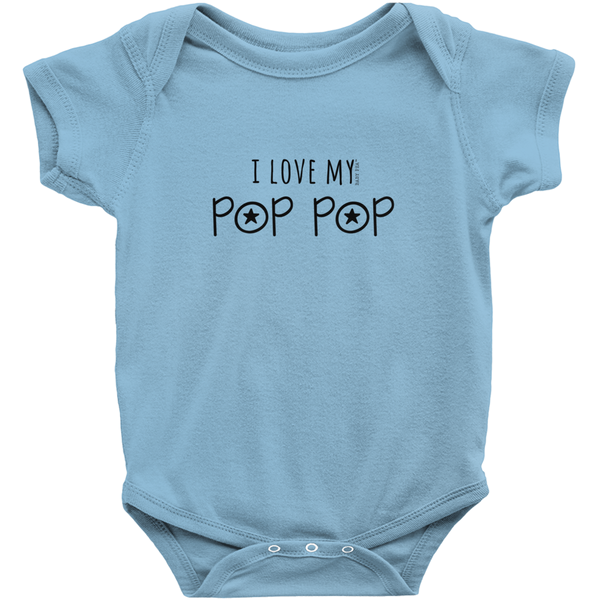 I Love My Pop Pop Onesie | Short Sleeve Rib | 16 Colors | Unisex - Baby Pea Clothing Fashion for Babies & Kids of all ages