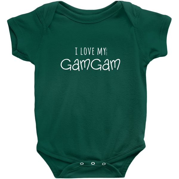 I Love My GamGam Onesie | Short Sleeve Rib | 16 Colors | Unisex - Baby Pea Clothing Fashion for Babies & Kids of all ages