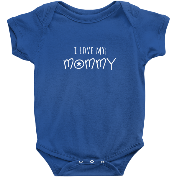 I Love My Mommy Onesie | Short Sleeve Rib | 16 Colors | Unisex - Baby Pea Clothing Fashion for Babies & Kids of all ages